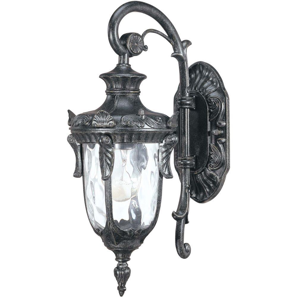 Glomar Dunmore - 1 Light Mid-Size Wall Lantern- Arm Down with Clear Water Glass Greystone-DISCONTINUED