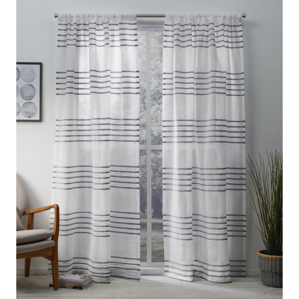 Monet Silver Sheer Linen Cabana Stripe Rod Pocket Top Window Curtain