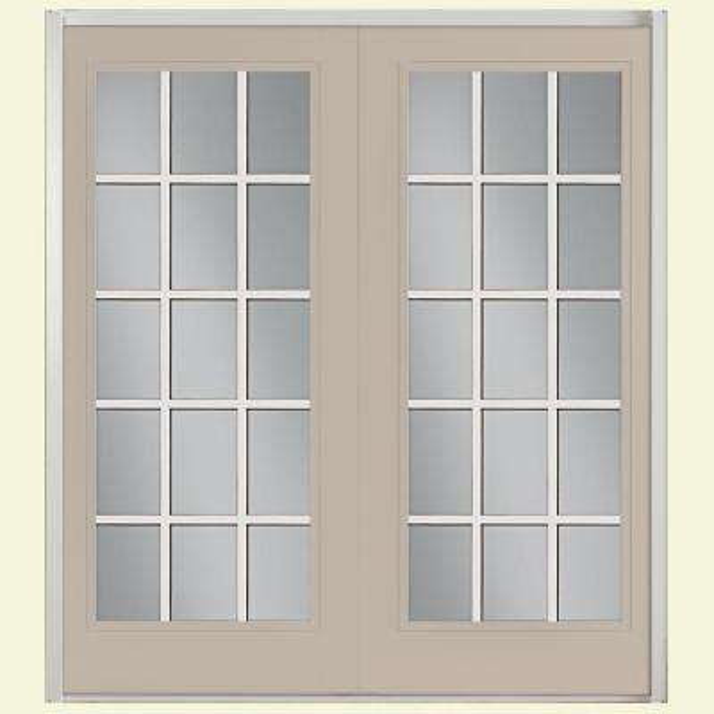 Prehung 15 Lite GBG Fiberglass Patio Door with No Brickmold