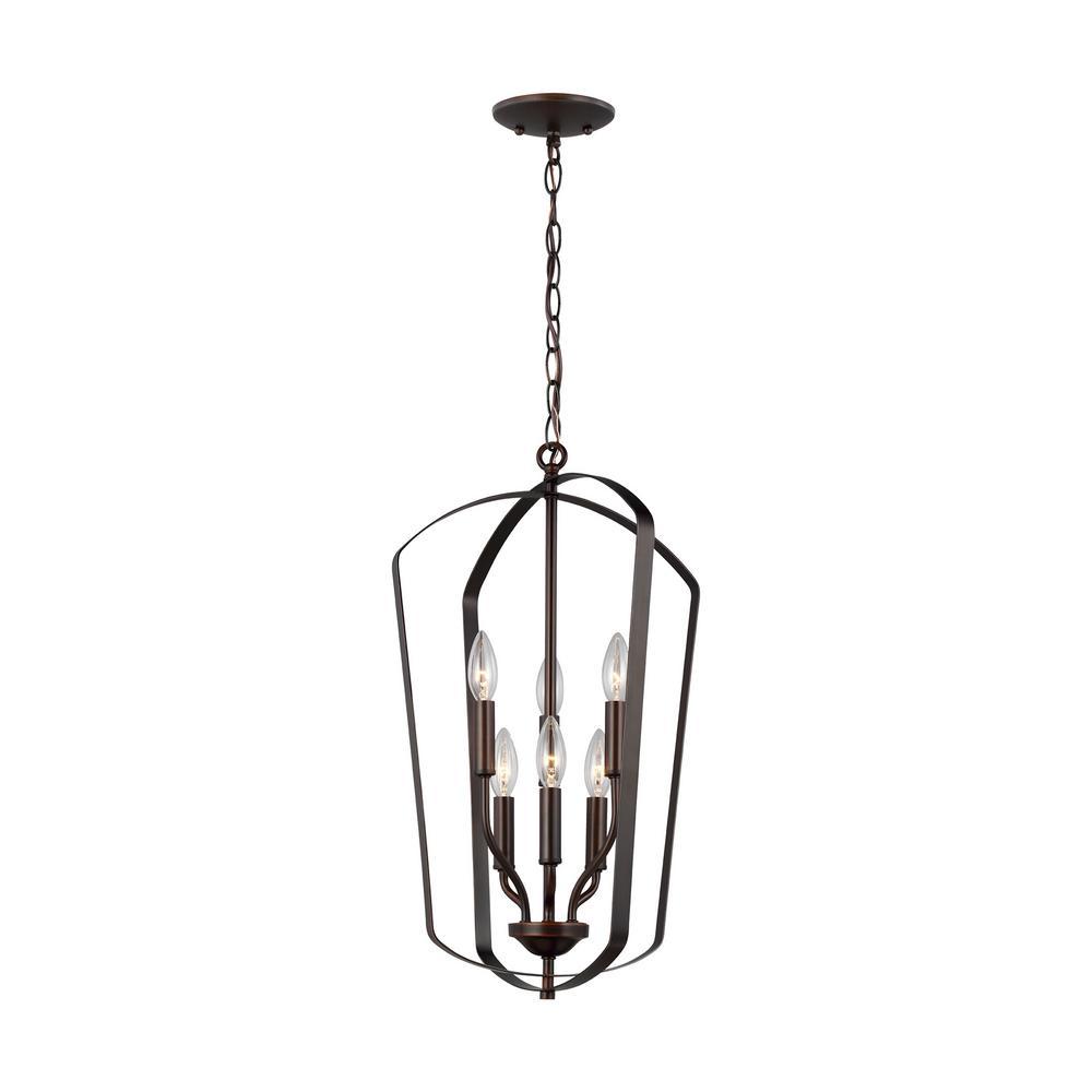 Romee 6-Light Heirloom Bronze Hall-Foyer Pendant with Dimmable Candelabra LED Bulb