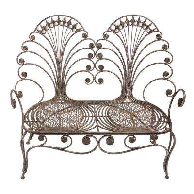Grand Peacock 2-Person 49 in. W Bronze Metal Outdoor Bench