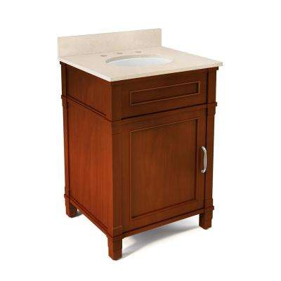 Williamsburg 25 in. W x 22 in. D Vanity in Chestnut with Marble Vanity Top in Beige with White Basin