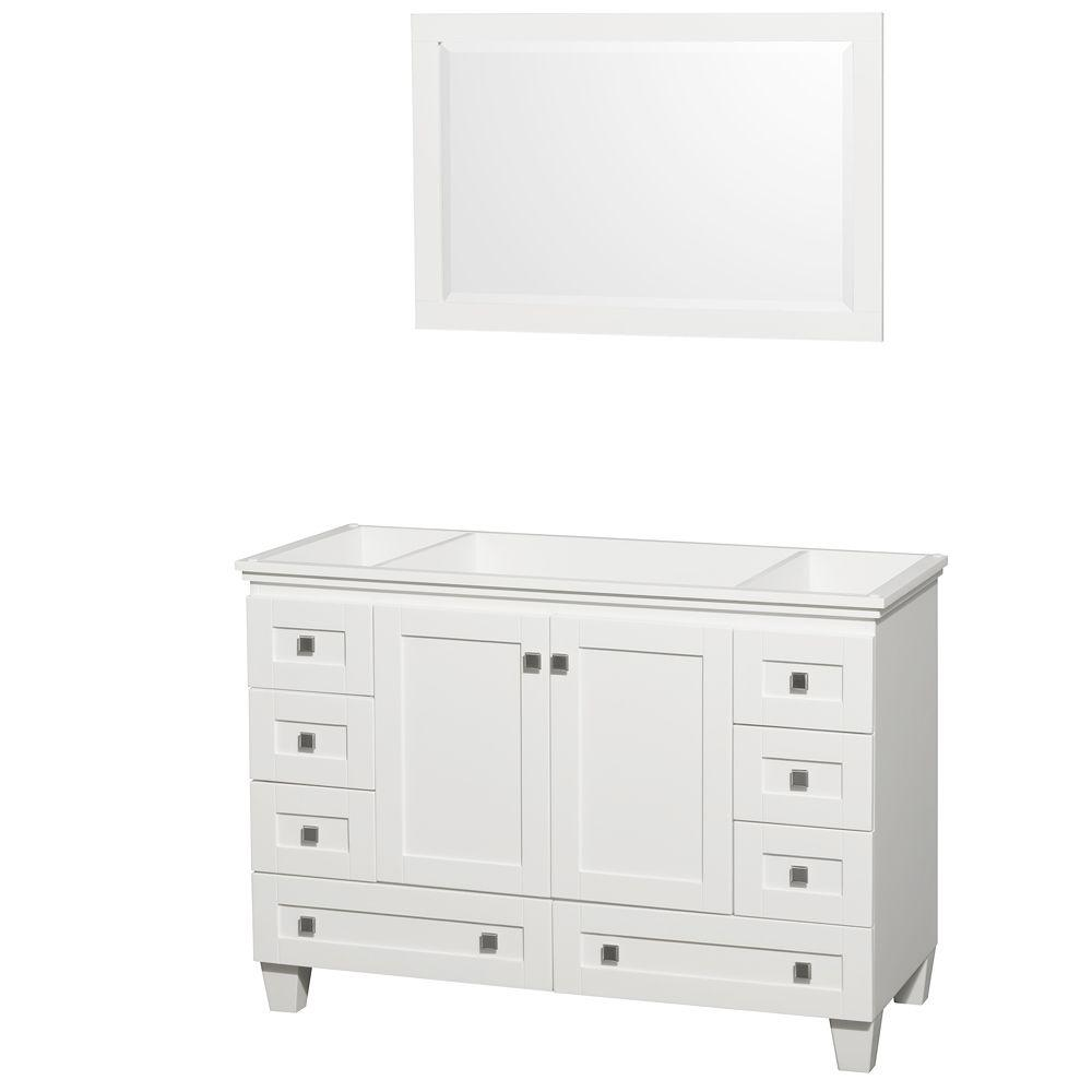 Acclaim 48 in. Vanity Cabinet with Mirror in White