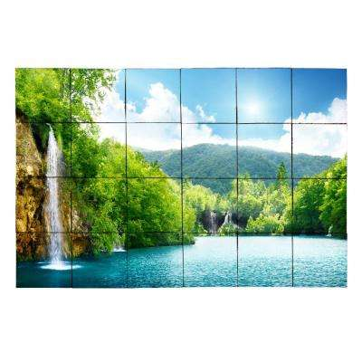 Waterfall3 36 in. x 24 in. Tumbled Marble Tiles (6 sq. ft. /case)