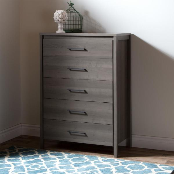 South Shore Gravity 5-Drawer Gray Maple Chest 9036035