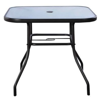 Black Square Steel Bar Dining Table Outdoor Patio Table