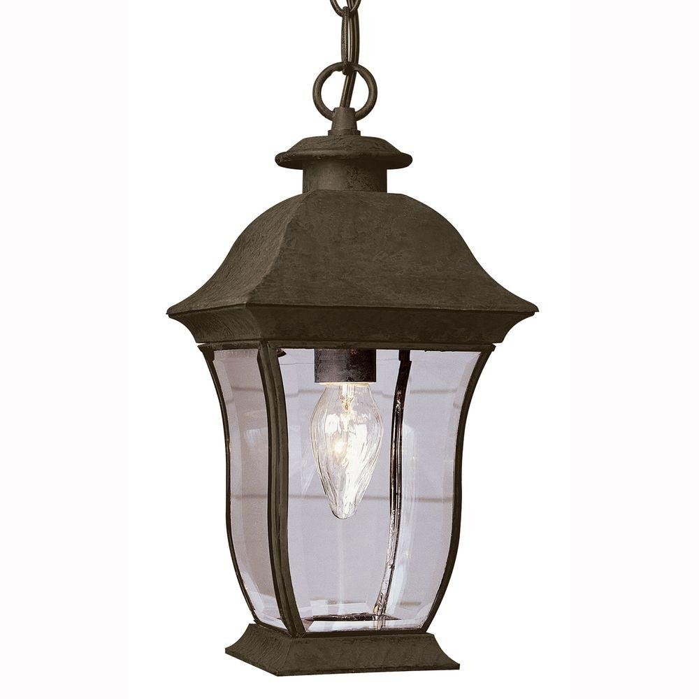 Bel Air Lighting Wall Flower 1-Light Outdoor Hanging Weathered Bronze Lantern with Clear Glass