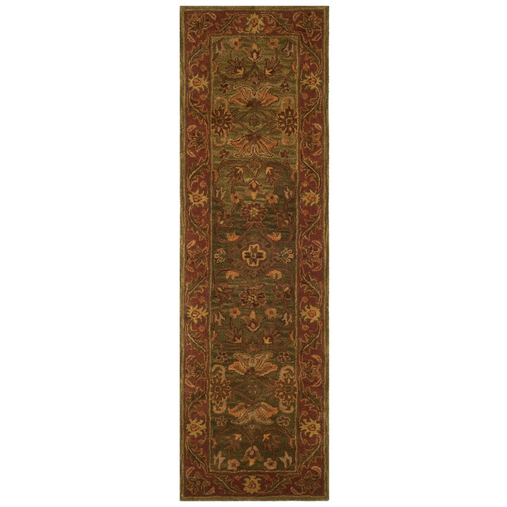 Golden Jaipur Green Rust 2 Ft X 8 Runner Rug