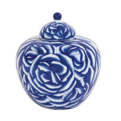 Blue and White Abstract Rose Ceramic Decorative Jar