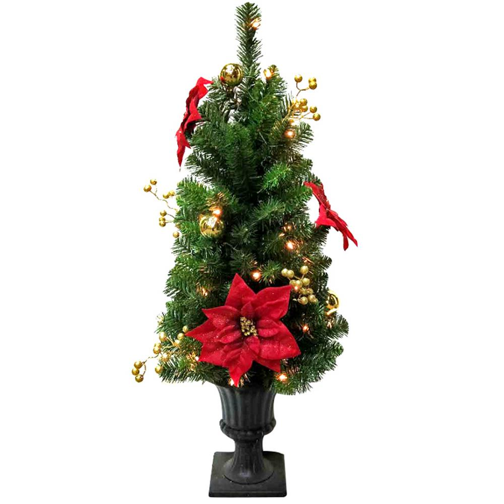 3.5 ft. Pre-Lit Glittered Poinsettia Potted Artificial Christmas Tree with 35