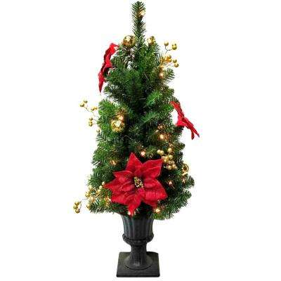 3.5 ft. Pre-Lit Glittered Poinsettia Potted Artificial Christmas Tree with 35 Clear Lights
