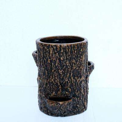 11.875 in. H Cast Stone Tree Trunk Planter in a Faux Wood Finish