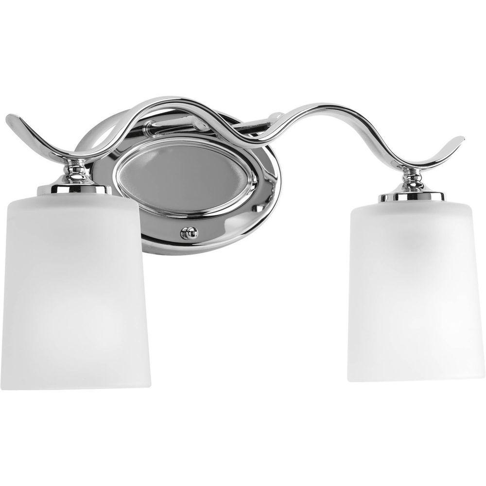 Progress lighting inspire 2 light chrome bathroom vanity for Chrome bathroom vanity light
