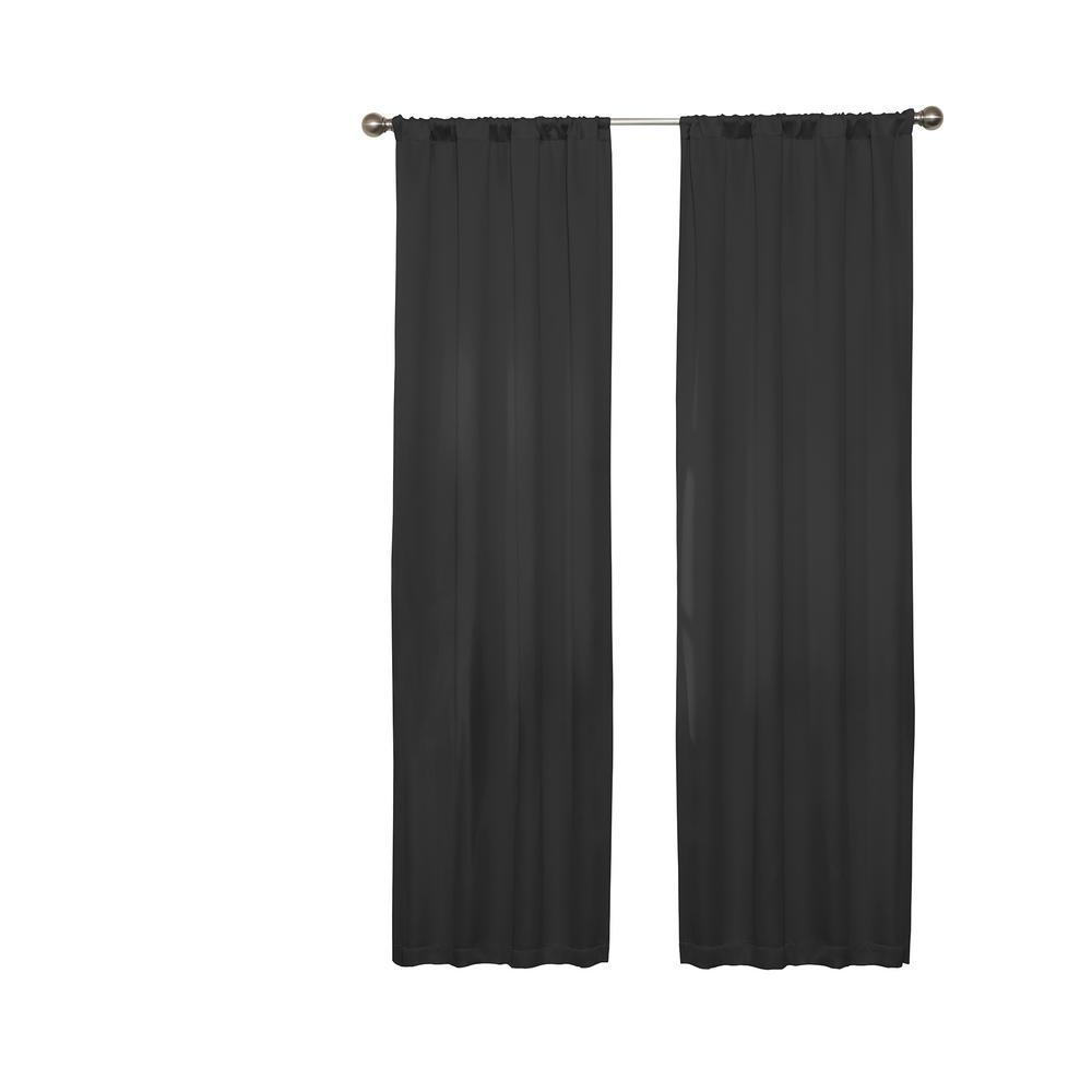 Darrell Blackout Window Curtain Panel in Black - 37 in. W x 84 in. L
