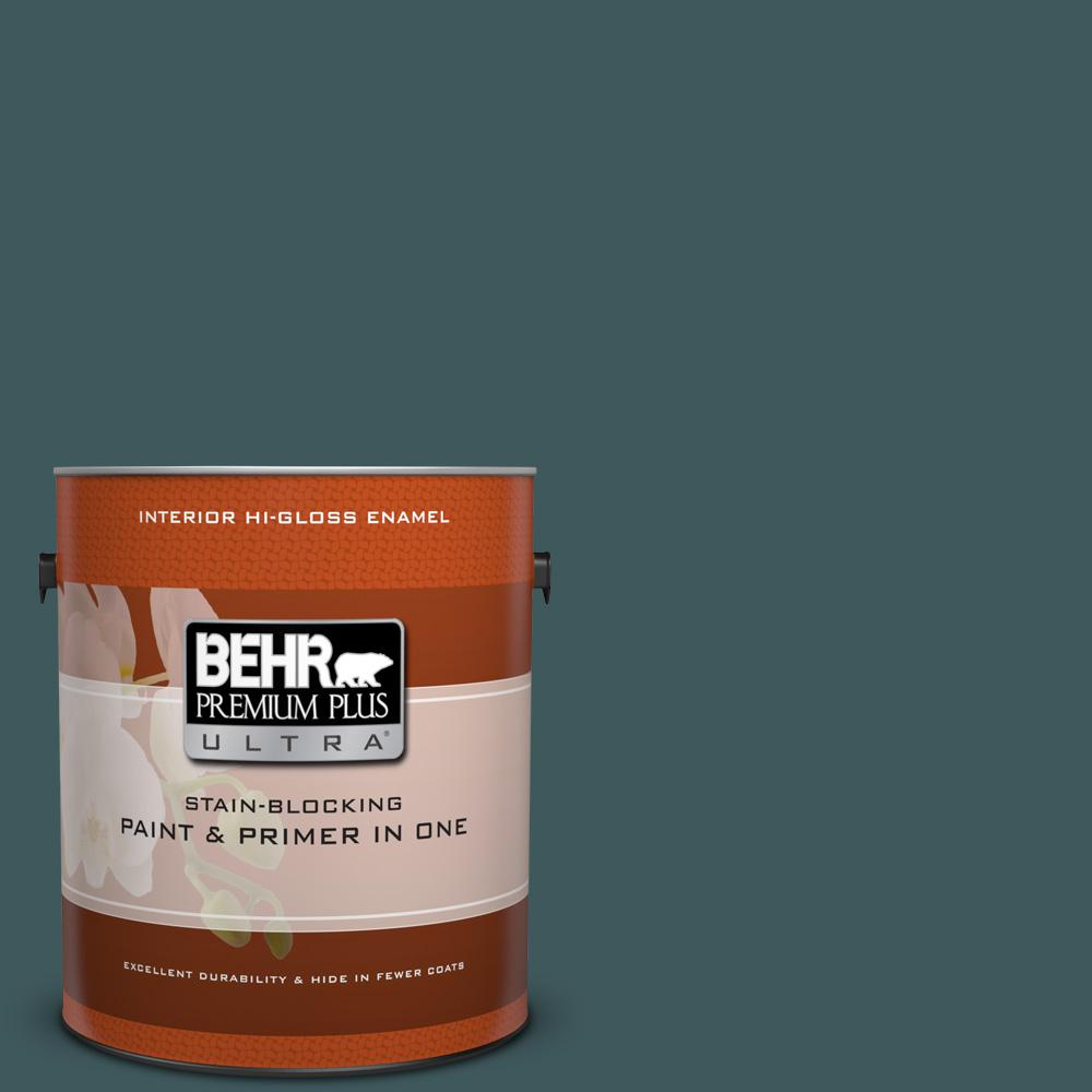 1 gal. #510F-7 Teal Forest Hi-Gloss Enamel Interior Paint