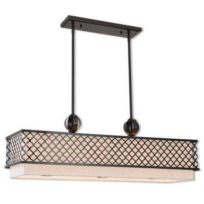 Arabesque 9-Light English Bronze Linear Chandelier with Oatmeal Color Outside  and  White Inside Hardback Shade