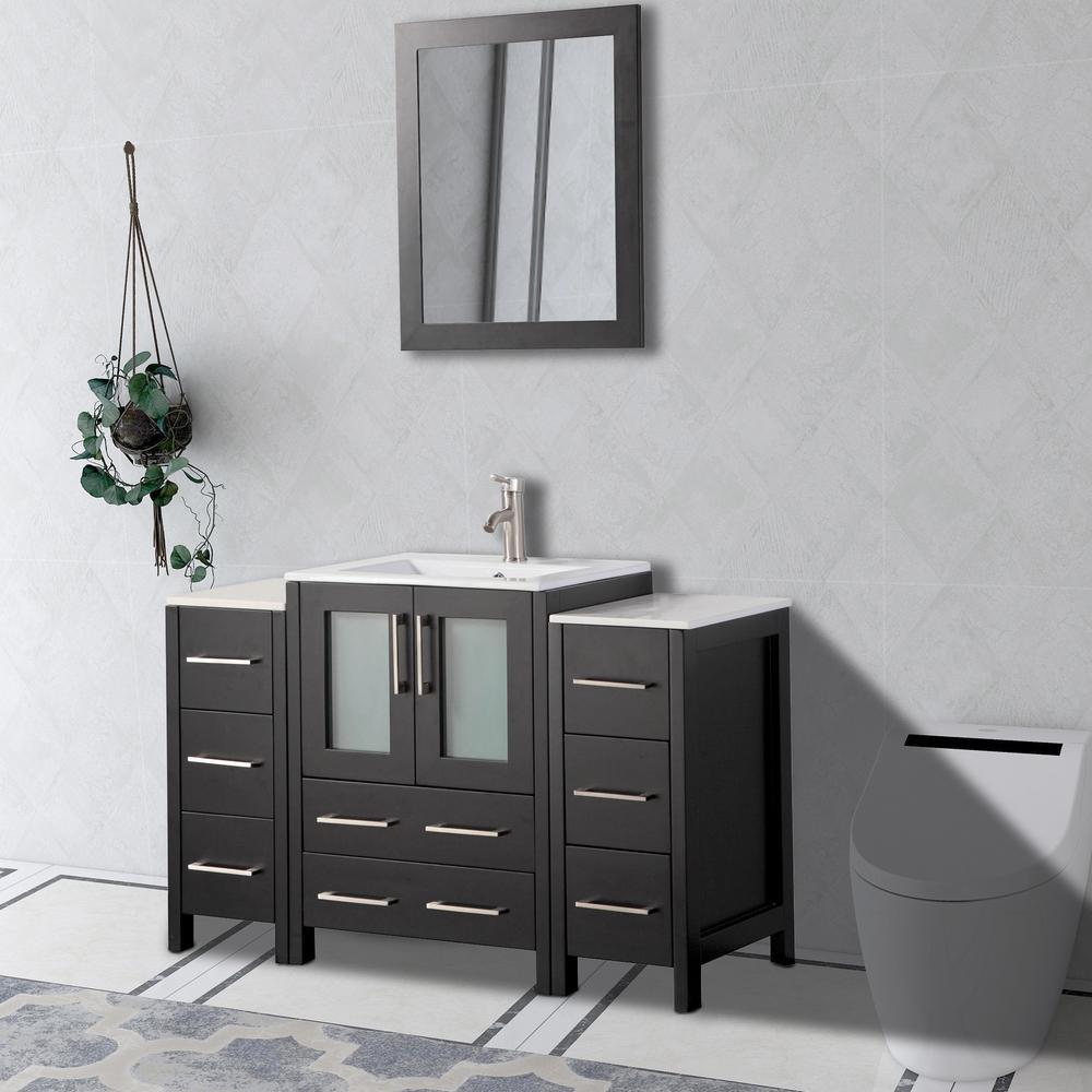 Vanity Art Brescia 48 in. W x 18 in. D x 36 in. H Bathroom Vanity in Espresso with Basin Vanity Top in White Ceramic and Mirror