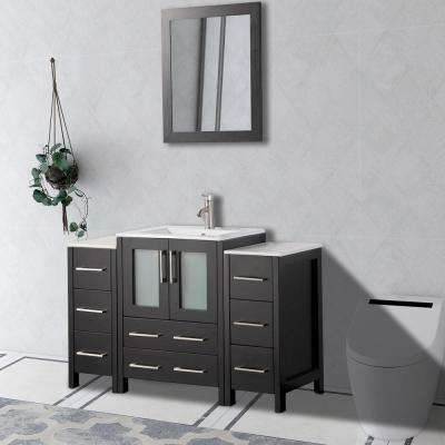 Brescia 48 in. W x 18 in. D x 36 in. H Bathroom Vanity in Espresso with Basin Vanity Top in White Ceramic and Mirror