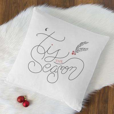 Tis the Season 16 in. x 16 in. Christmas Throw Pillow