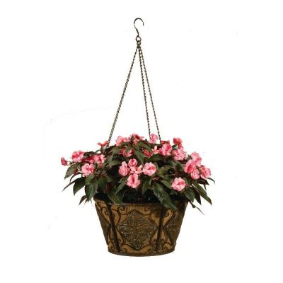 16 in. Planter Metal Hanging Basket Diamond with Coco Liner