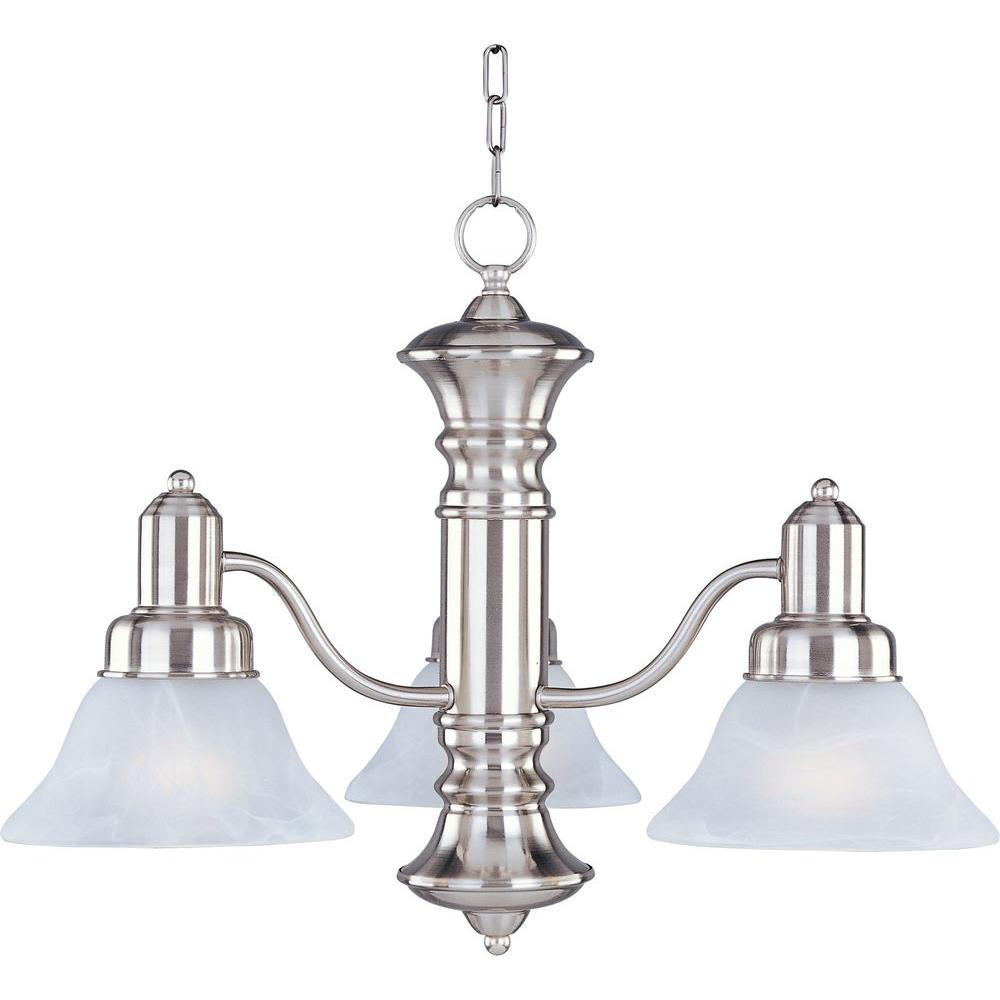 Maxim Lighting Newburg 3 Light Satin Nickel Down Chandelier