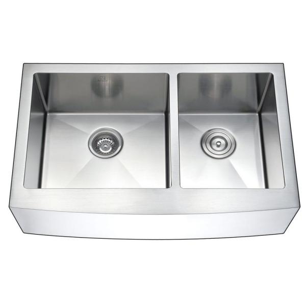 Anzzi Elysian Farmhouse Stainless Steel 36 In Double Bowl Kitchen Sink And Faucet Set With Accent Faucet In Oil Rubbed Bronze K36203a 031o The Home Depot