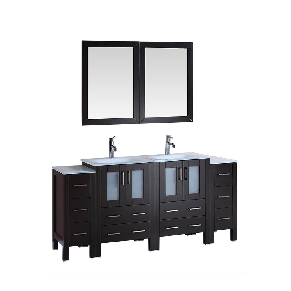 Bosconi 72 In W Double Bath Vanity With Tempered Glass Vanity Top