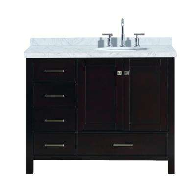 Cambridge 43 in. Bath Vanity in Espresso with Marble Vanity Top in Carrara White with White Basin