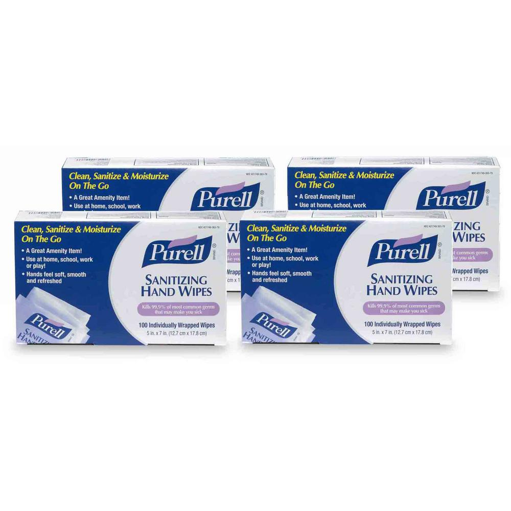 Purell Sanitizing Hand Wipes Box (100-Count) (4-Pack)