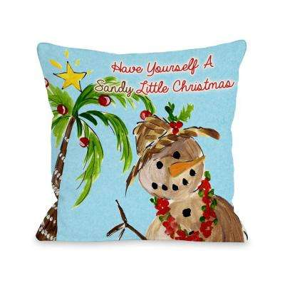Sandy Little Christmas 16 in. x 16 in. Decorative Pillow