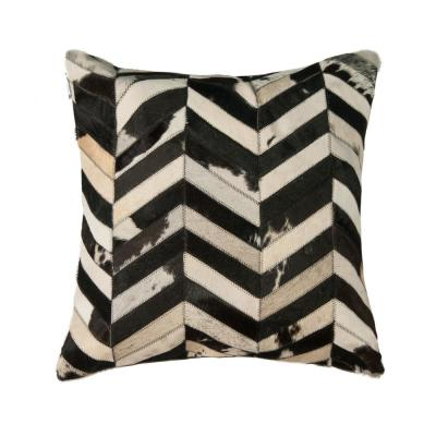 Torino Classic Large Chevron Cowhide Black & White Animal Print 22 in. x 22 in. Throw Pillow