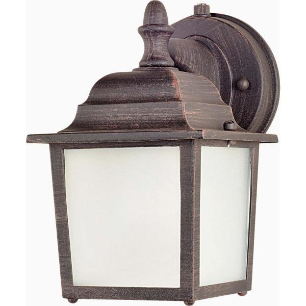 Side Door 5.5 in. W 1-Light Rust Patina Outdoor Wall Lantern Sconce