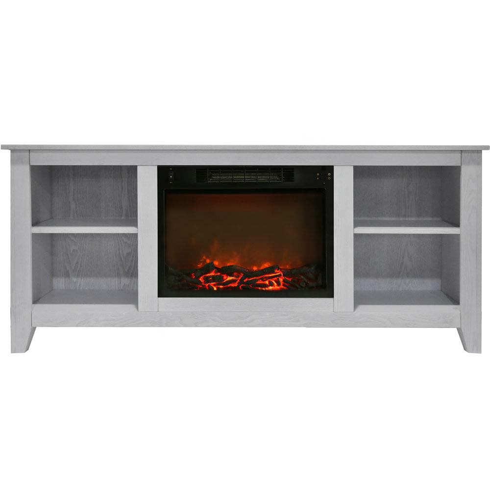 Bel Air 63 in. Electric Fireplace and Entertainment Stand in White