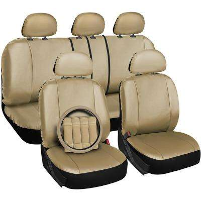 Polyurethane Seat Covers 21.5 in. L x 21 in. W x 31 in. H Seat Cover Set Beige (17-Piece)