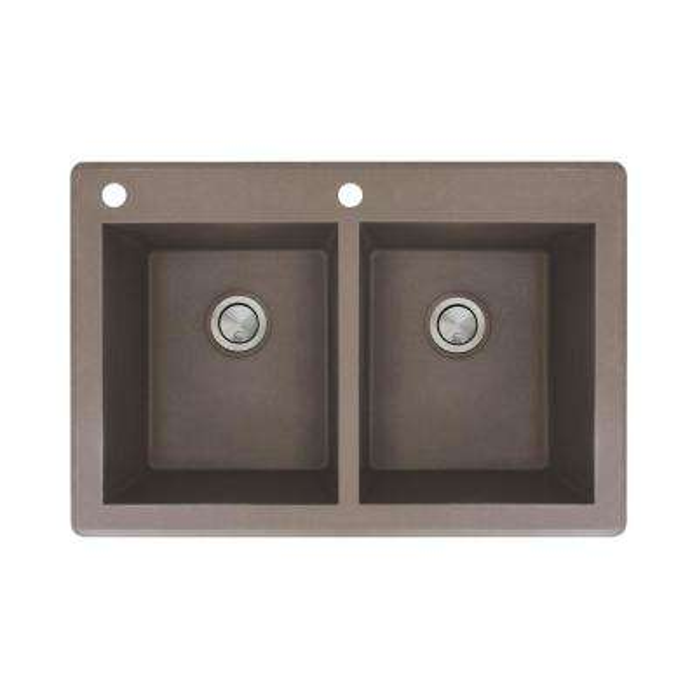 Radius Drop-in Granite 33 in. 2-Hole Equal Double Bowl Kitchen Sink in Espresso