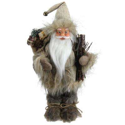 13 in. Alpine Chic Beige and Gray Santa with Snowshoes and Gift Bag Decorative Christmas Figure