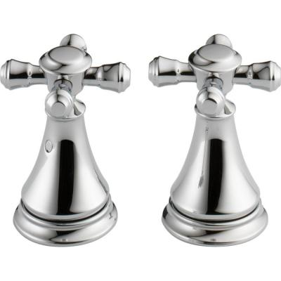 Pair of Cassidy Metal Cross Handles for Bathroom Faucet in Chrome