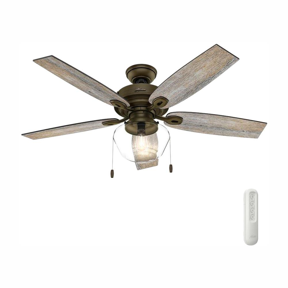 Hunter Crown Canyon 52 in. Indoor Regal Bronze Ceiling Fan with Light Bundled with Handheld Remote Control