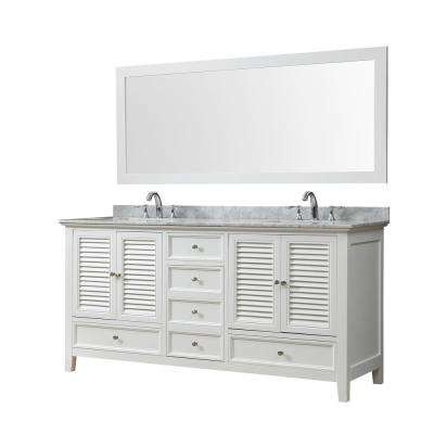 Shutter 72 in. W Bath Vanity in White with Carrara White Marble Vanity Top with White Basins and Mirror