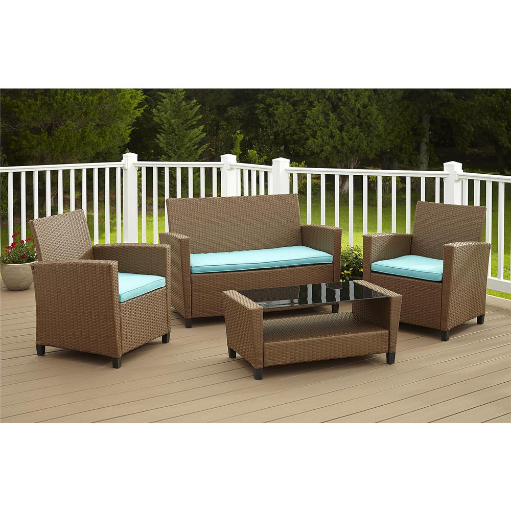Resin Garden Furniture Malmo 4-Piece Brown Resin Wicker Patio Conversation Set with Blue Cushions
