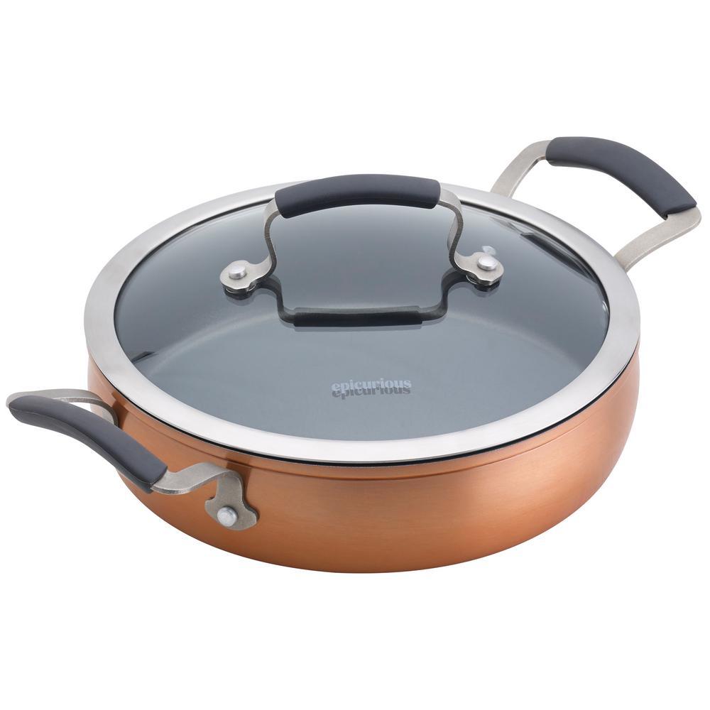 3 Qt. Copper Translucent Aluminum Sauteuse with Lid