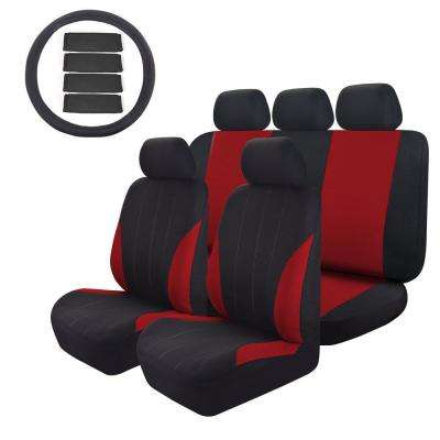 47 in. x 23 in. x 1 in 14PC Seat Cover Universal Full Set for Car SUV Truck or Van Free Steering Wheel Cover Red/Black