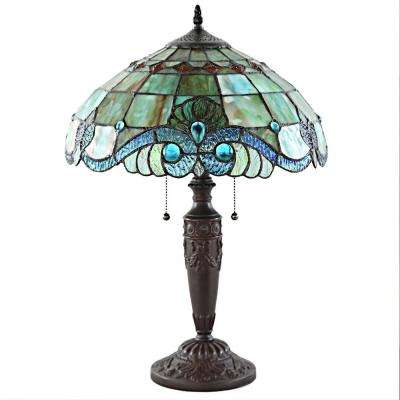 20 in. Green Indoor Table Lamp with Stained Glass Vivienne Baroque Style Shade