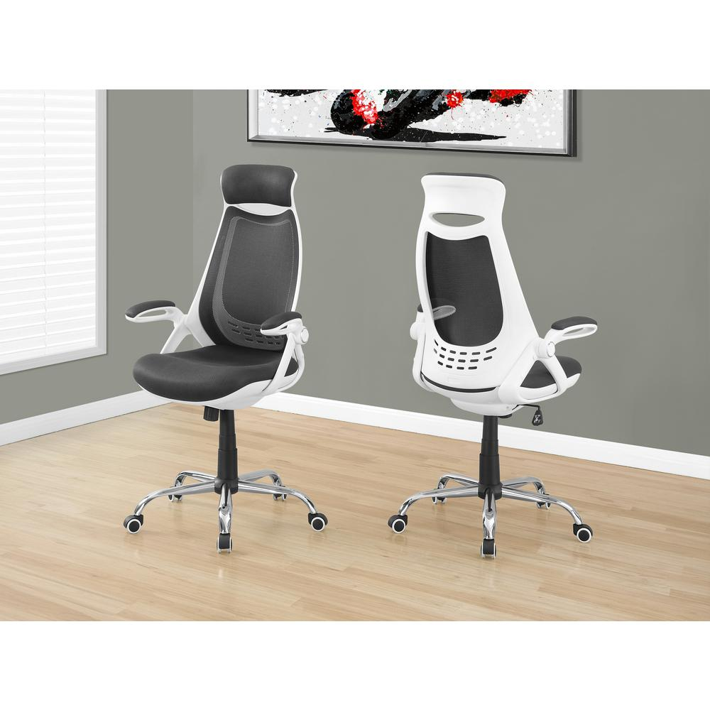 MONARCHSPECIALTIES Monarch Specialties White and Grey High Back Office Chair