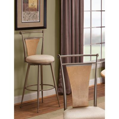 London 24 in. Pewter with Maple Finished Wood and Textured Ivory Swivel Counter Stool