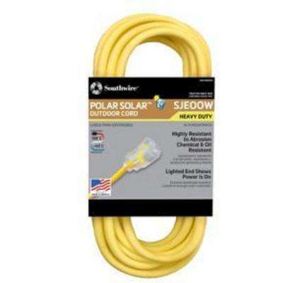 50 ft. 10/3 SJEOW Outdoor Heavy-Duty T-Prene Extension Cord with Power Light Plug