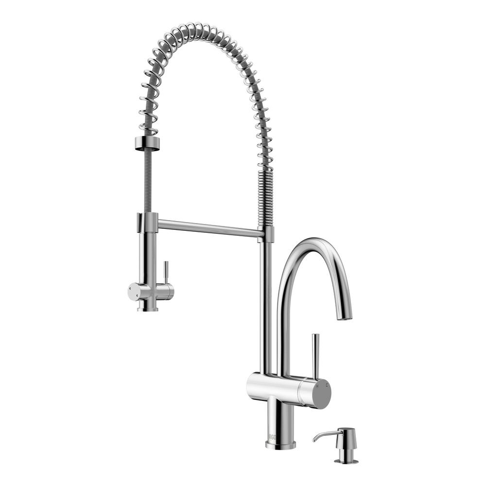 Dresden Single-Handle Pull-Down Sprayer Kitchen Faucet with Soap Dispenser in