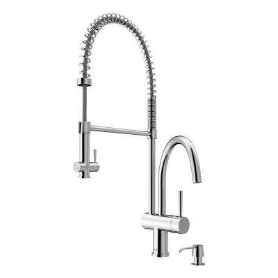 Single-Handle Pull-Down Sprayer Kitchen Faucet with Soap Dispenser in Chrome