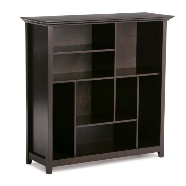 Simpli Home Amherst Solid Wood 44 in. x 44 in. Transitional Multi Cube Bookcase and Storage Unit in Dark Brown