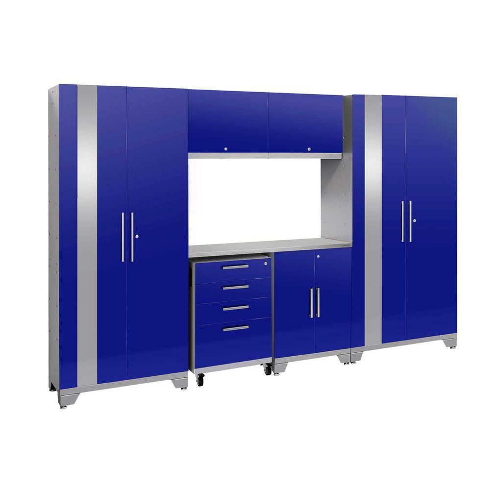 Performance 2.0 108 in. W x 75.25 in. H x 18 in. D Steel Stainless Steel Worktop Cabinet Set in Blue (7-Piece)